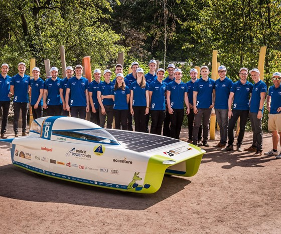 Punch 2 solar car with Punch Powertrain Solar Team.