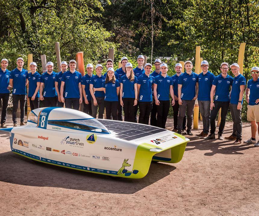 Punch 2 solar car with Punch Powertrain Solar Team.