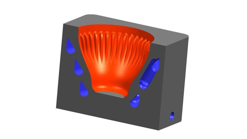 Computer rendering of mold cavity for bottle top