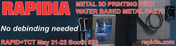 Rapidia Metal 3D Printing with Water Based Paste