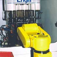 Robot loading bore-finishing machine