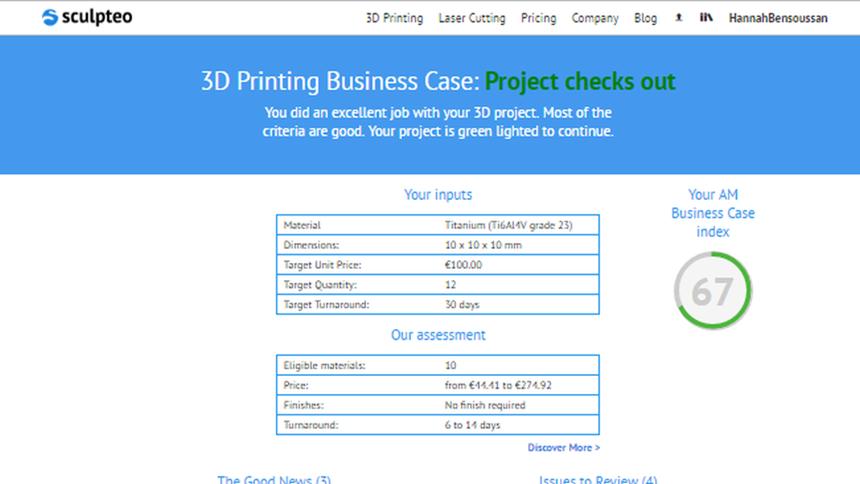 Sculpteo Agile Metal Technology screenshot