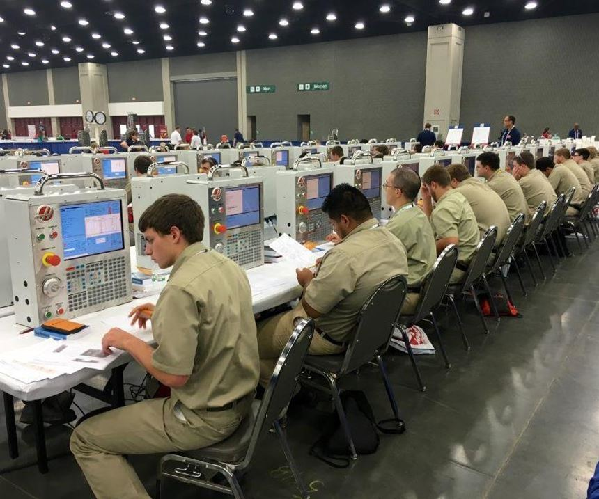 CNC controls in use by competitors at SkillsUSA.