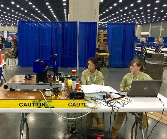 Students competing in robotics at SkillsUSA.