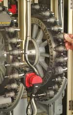 Swiss-type machine is uniquely configured with a 60-station (118 optional) automatic toolchanger