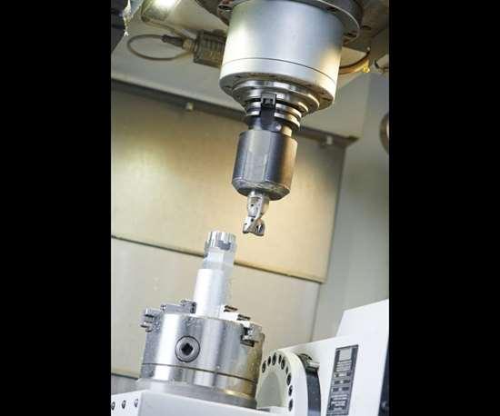 vertical machining center interior
