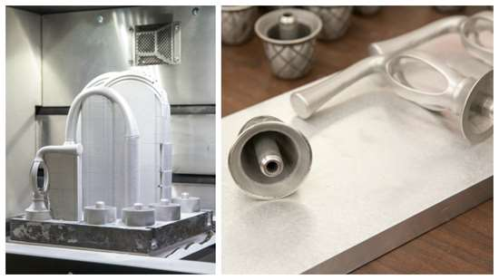 Faucet assemblies on the build plate and handles