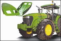 The hood for a John Deere 7000 series tractor