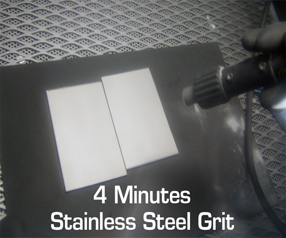 Transmet demonstrates four minutes of stainless steel grit operator visibility.