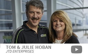 Machine shop owners Tom and Julie Hoban, JTD Enterprises, IMTS attendees.