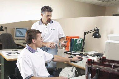 Engineering Manager Mike Kelly and Design Engineer Jim Deitner