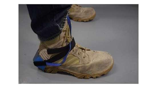 Grounding strap over shoe