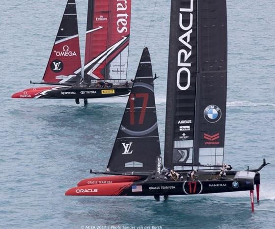 America's Cup race Burmuda, USA and New Zealand boats.