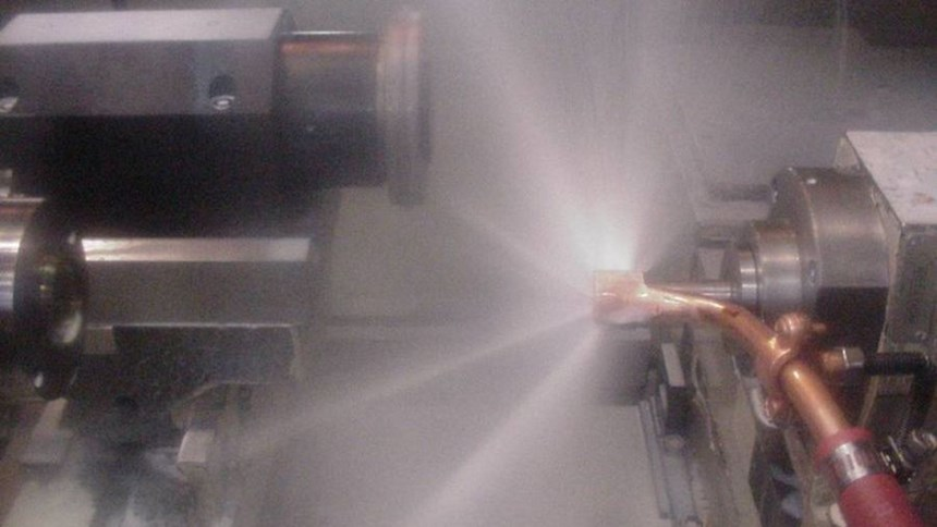Nozzles made through forming and welding failed to control the flow of the high-pressure coolant. In the shoe nozzle, some of the coolant is seen escaping through the nozzle's welds.