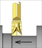 Axial forces on the insert in a turning fashion