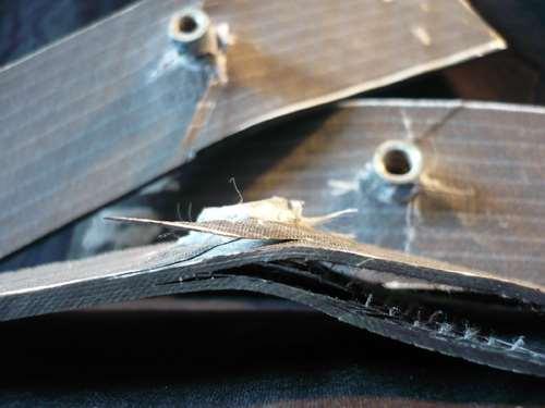 Detail, post-test view of carbon fiber laminate
