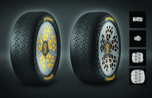 """The ContiAdapt concept tire is capable of changing its width depending on driving conditions. In effect, it is a """"smart tire."""" Continental has another concept, the ContiSense, which uses electrically conductive rubber compounds so that it has the ability to work as a sensor."""