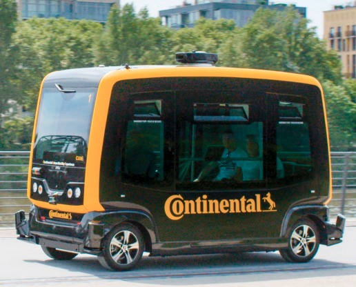 "The ""CUbE"": Continental Urban mobility Experience. Conti has taken its various automated driving tech and is putting it to work in a vehicle that it is testing out at its Frankfurt facility."