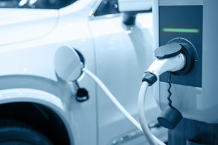 electric vehicle (EV) charging station in use