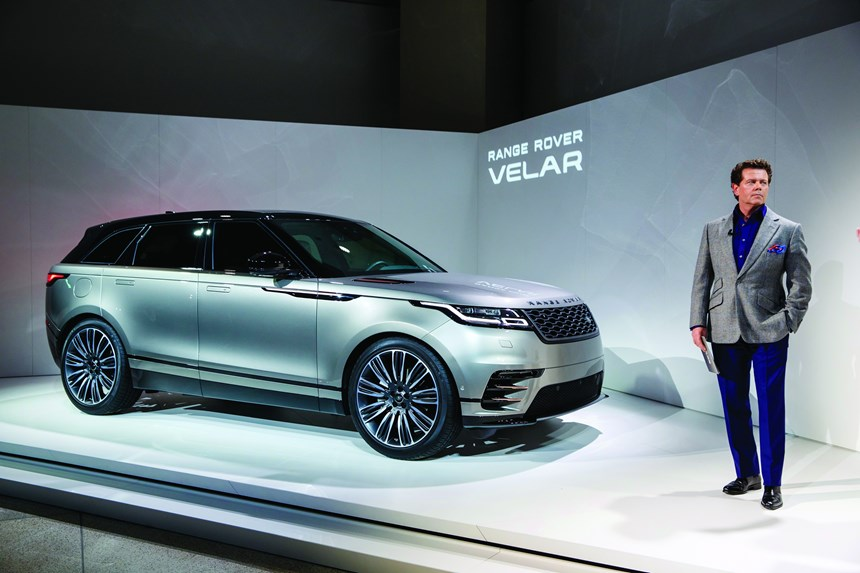 Gerry McGovern, Land Rover design director and chief creative officer, with the Range Rover Velar, the company's new midsize SUV.