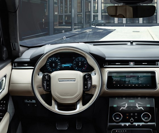 The cluster and other digital tech on the interior of the Velar were developed by Visteon along with Jaguar Land Rover.