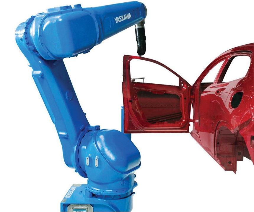 The hollow wrist of the MPX3500 allows hoses to run through it, thereby eliminating the interference of hoses with the workpiece, which is important in painting operations.