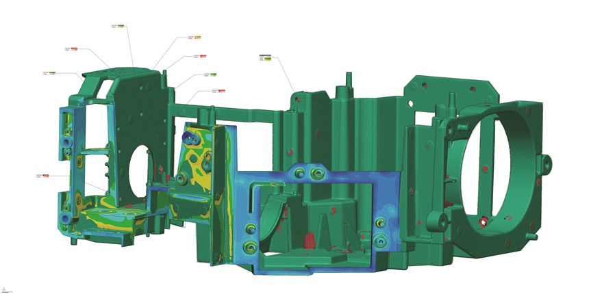 3D Deviation color maps in Geomagic Control X 2018 rapidly identify dents and other types of wear on a part, as well as automated measurements for quick and turnkey inspections.