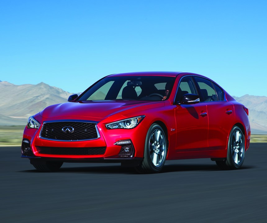 The Infiniti Q50 is available in RED SPORT 400 trim, which means, yes, 400 hp, but also a more aggressive and aero front fascia as well as different interior trim.