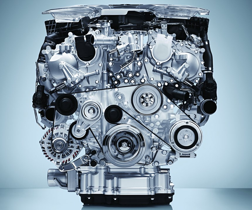 The VR-series 3.0-liter V6 twin-turbo engine is one of the engines available in the Q50. There are also 208-hp 2.0-liter four and a 360-hp hybrid (engine and motor combined).