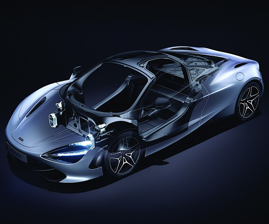 With the Monocage II, McLaren mates the third iteration of the Monocell to a pre-bonded upper structure with woven sections, mimicking the construction used in the P1. Cost reductions and design targets drove the change in material, giving the 720S sports car thinner A-pillars, larger door openings and more glass area.