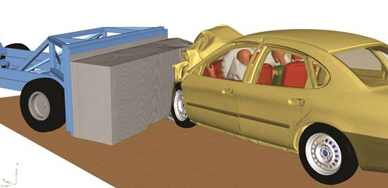 Altair Radioss has a variety of new shell elements to better analyze composite failures in vehicular crashes. This simulation is of an offset frontal impact with a moving deformable barrier.