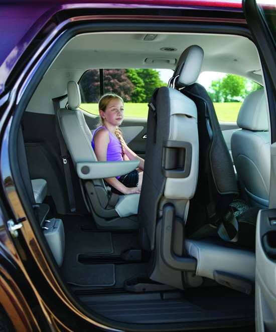 One of the features that chief engineer Dean Perelli cites as notable in this family vehicle is the way the second row of seats allows access to the third, even with a child seat in place on the second.