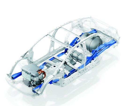 Inside the Clarity Fuel Cell structure.