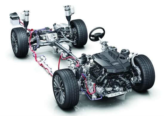 The Audi A8 under the skin. Although there is a 48-volt system serving as the basis of the hybrid, there is a 12-volt system in the car, as well.