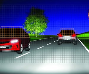 This Osram rendering shows how Eviyos illuminates surroundings in high-beam light, but in a targeted way that doesn't blind other drivers.