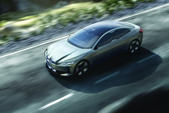 The BMW i Vision Dynamics is a sedan that slots between the i3 city car and the i8 sports car. Note the variation on the classic kidney grille.