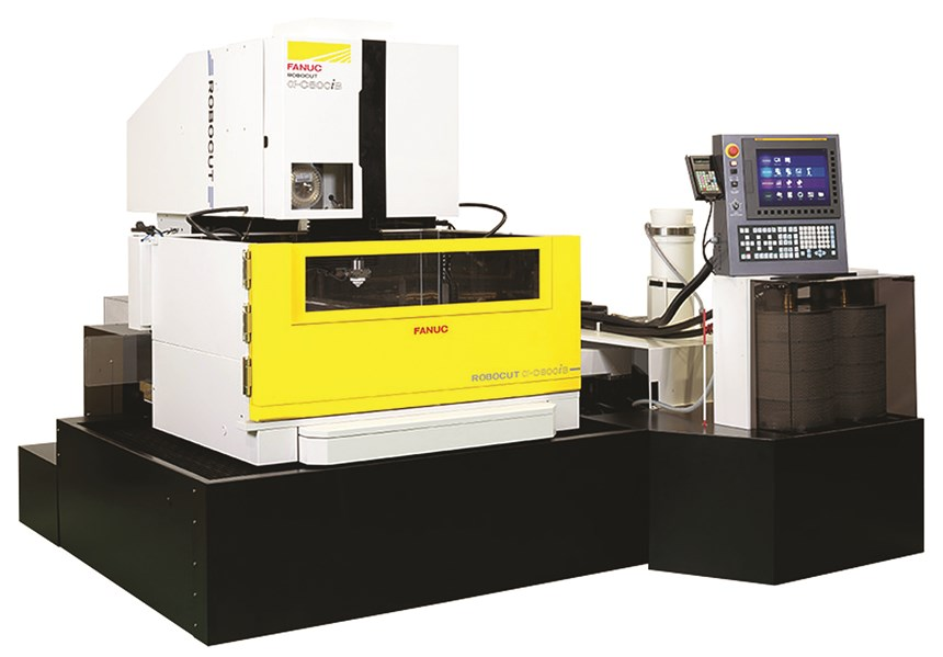 The FANUC Robocut wire EDM machine features a moving worktable and 3D compensation.