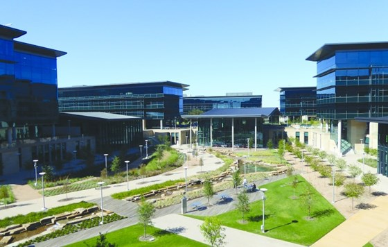 View from the main building to the Toyota campus.