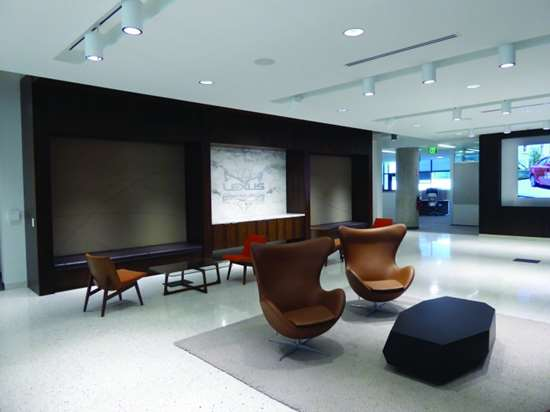 The entry area of the Lexus building. Each of the buildings is furnished in a way that is indicative of what functions are performed in it or to represent the brand. Obviously, there's comfortable leather furniture in the Lexus space.