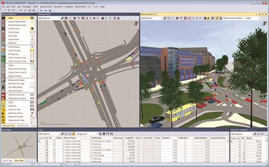 PTV Group traffic simulation software provides both micro-scopic simulation, where vehicle behaviors and interactions are modelled as close to reality as possible, and the faster mesoscopic simulation, which is based on a simplified model.