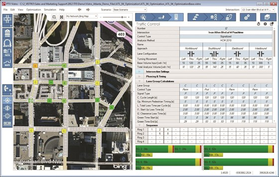 """PTV Group traffic simulation software leads users through planning and optimizing traffic control devices in a city using maps and aerials, drag-and-drop, node templates, and """"snap-to-handles."""" These simulations also help analyze the interactions between vehicles and those """"smart"""" traffic devices."""