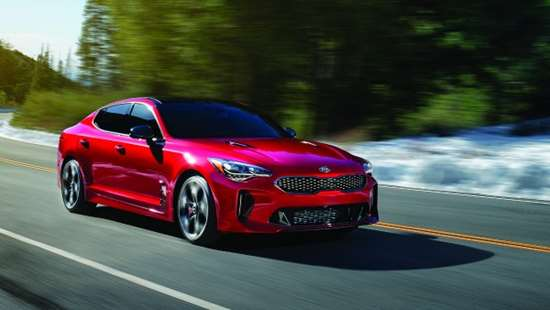 The 2018 Kia Stinger sport sedan is powered by either a 255-hp 2.0-liter or 365-hp 3.3-liter engine. The vehicle is 190.2 inches long, 73.6 inches wide, 55.1 inches high, and has a 114.4-inch wheelbase.
