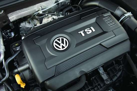The 2.0-liter, turbocharged inline four EA888 engine used by the GTI.