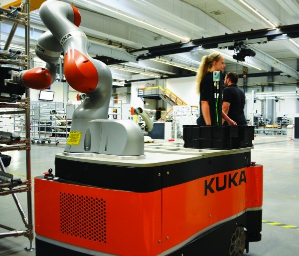 Not only can the Kuka LBR iiwa work directly with people, it can be mounted on a mobile platform.