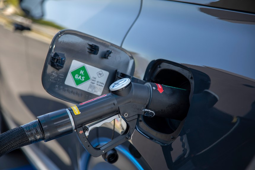 Unlike battery-powered electric vehicles, the Nexo can be refueled in about the same time as a gasoline-powered vehicle and, as is shown here, the setup is familiar to anyone who has ever pumped liquid gas.