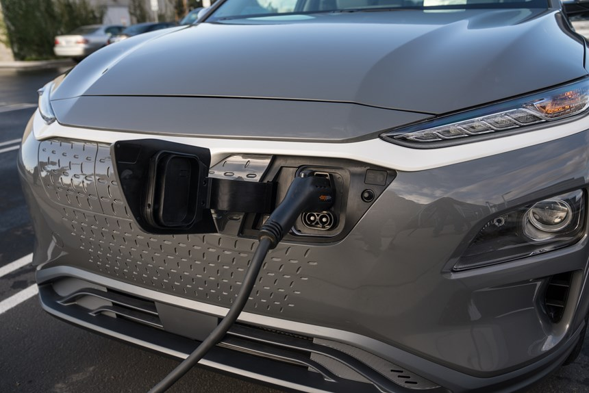 The charge port is located in the front of the vehicle. It can be DC quick charged to 80 percent in 54 minutes.
