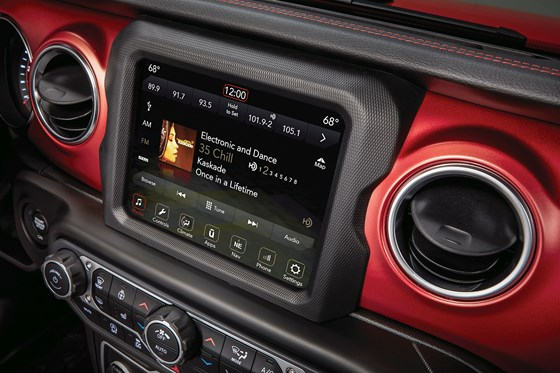 Although the design ethic of the Wrangler is arguably mechanical, there is no skimping when it comes to the digital. Case in point: there is an available 8.4-inch Uconnect touchscreen. And there is Apple CarPlay and Android Auto availability.