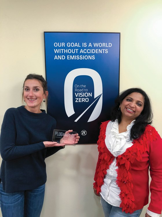 Malgorzata Wiklinska, Head of Digital Ecosystem and Global Innovation Hubs for ZF (left) and ZF Chief Digital Officer Mamatha Chamarthi (right) received the Plug and Play Corporate Innovation Award in the Mobility category for their work with startups.