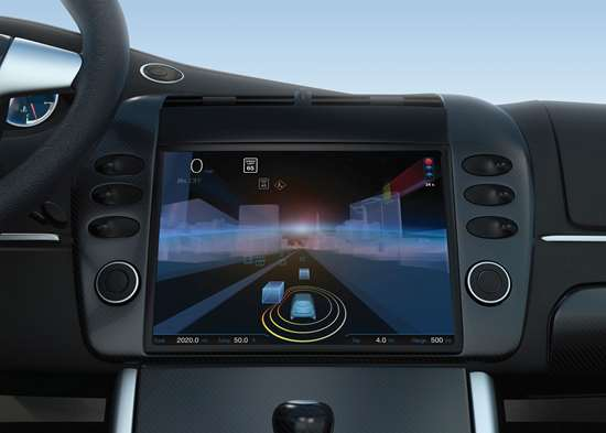 """ZF's """"Concept 2020,"""" a vehicle cockpit that provides a comprehensive yet simplified overview of all assistance and control functions in the vehicle, which is displayed on a centrally installed Head Up Display Instrument Cluster (HUDIC). The system was developed with fka Forschungsgesellschaft Kraftfahrtwesen mbH."""