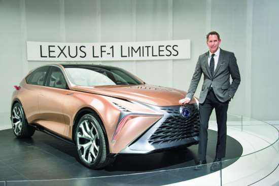 Kevin Hunter, president, Calty, and the LF-1 concept that Lexus unveiled at the 2018 NAIAS in Detroit.